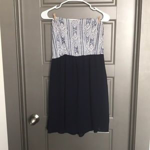 Strapless navy blue mini dress
